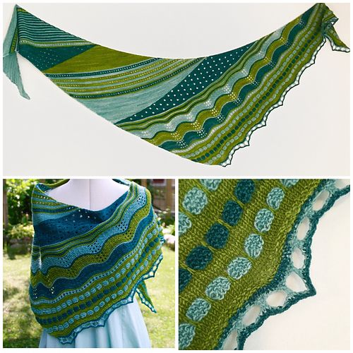 The pattern for this fun shawl is available in swedish and english.