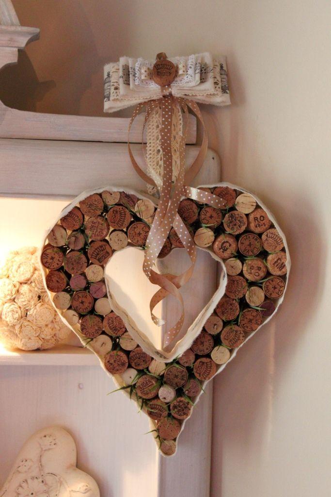 Wianek z korków od wina w kształcie serca-ozdoba do domu, dekoracja, pomysł na prezent na Dzień Matki, podziękowania