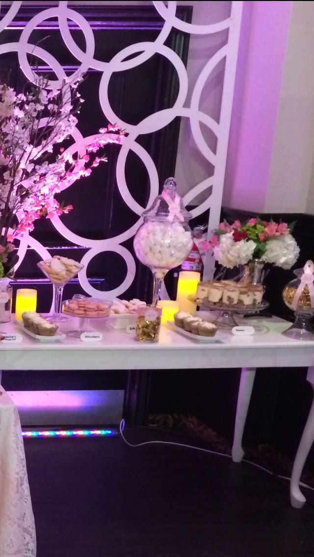 Luxurious elegant and glamour ! Candy bar with cake pops cupcakes chocolate candy and strawberries dipped in chocolate  all on pink and gold
