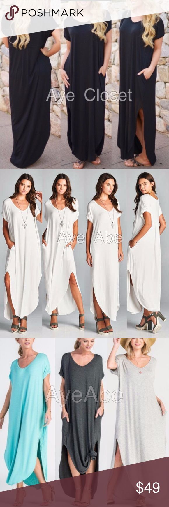 """Oversized loose fit slit long maxi dress pockets New boho chic maxi dress.Super comfy. Oversized, loose fit v-neck long maxi dress featuring side slits and side pockets. high quality and stretchy fabric. Runs big. And meant to be.  Measurements takes from size 1X Length: 58"""" Chest: 34""""  ❌price firm unless bundled⭕️ boutique Dresses Maxi"""