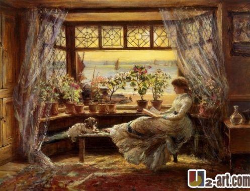 Отпечатки на холсте чарльз джеймс льюис красивая чтение девушка живопись маслом печатных для девочки ; s дд-6-rw ( 15 )