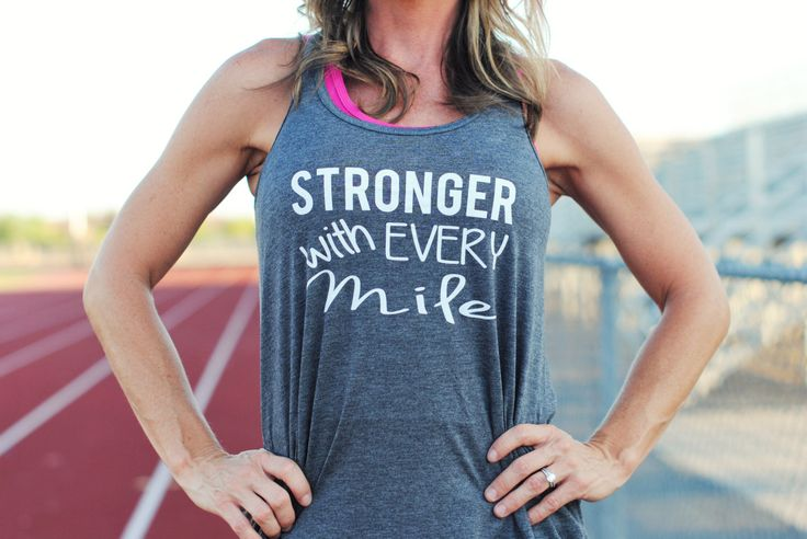 Stronger with Every Mile / Running Tank /  Workout Tank Top /  Gym Tank / Runner Tank Top / Running Shirt (17.95 USD) by GlamUpFitnessApparel