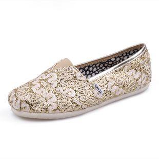 Toms Glitter Women Shoes Decorative Pattern Shoes Cream