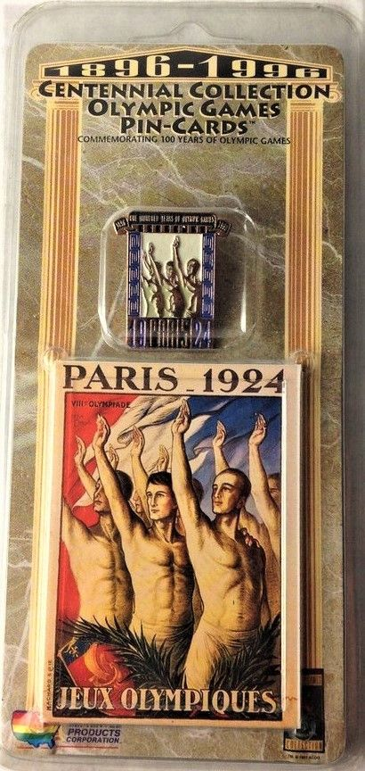 OLYMPIC PIN and trading card factory sealed 1924 Games Paris Jeux