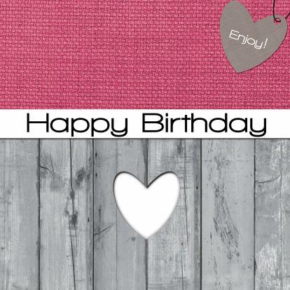 Leuke stoere maar ook lieve verjaardagskaart met een houten achtergrond, roze stofje en een label in de vom van een hartje.