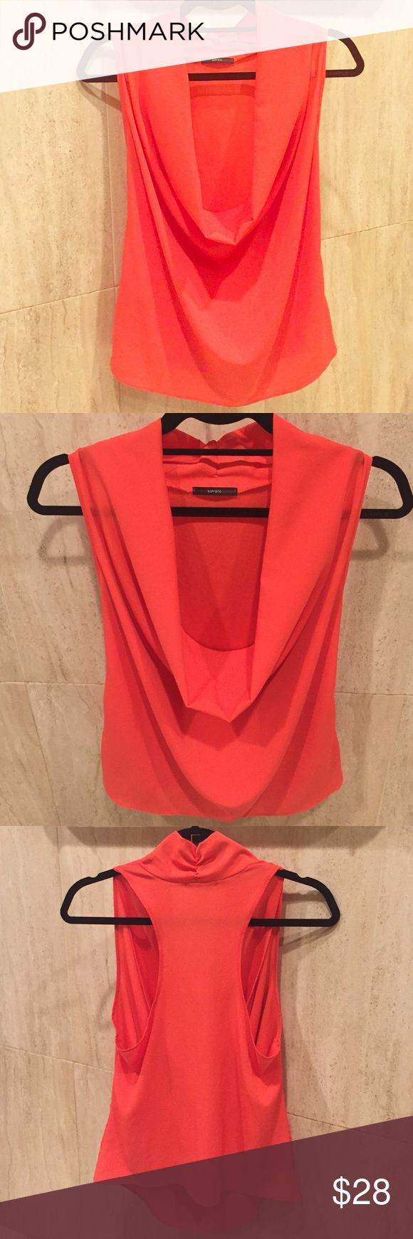 SOPRANO Orange Tank Beautiful shade of orange Top that can be worn with a bandeau underneath or as is. 100% polyester. ONLY WORN TWICE! Soprano Tops Tank Tops