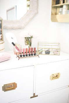 The bedroom of Blogger Teresa Caruso of Money Can Buy Lipstick | White and Gold Dresser | Dresser Styling | Bedroom Vanity | Bedroom Tour | Campaign Dresser | Beauty Organization
