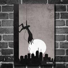 Batman Climb movie poster minimalist design comic book drawing children's room art comic book dark knight