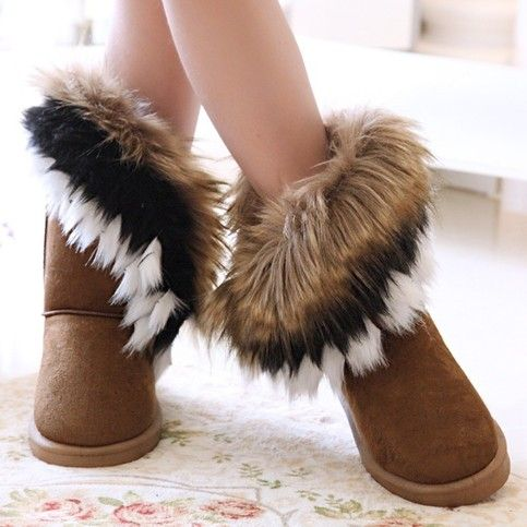 winter warm high long snow boots artificial fox rabbit fur leather tassel women's shoes,size 35-41    #furboots,#brownboots,#fall2013boots