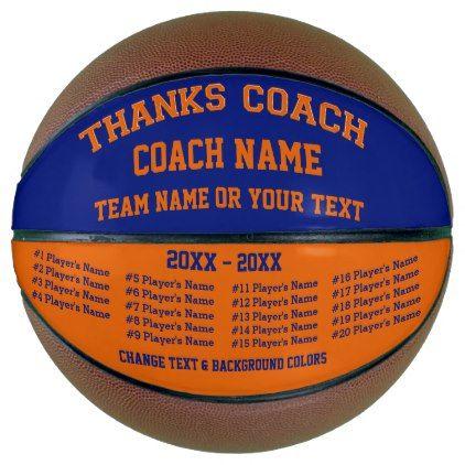 Blue and Orange Custom Basketball ALL Players Basketball - blue gifts style giftidea diy cyo