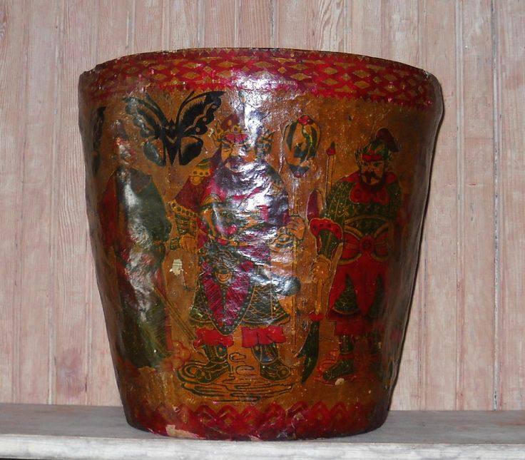 ASIAN ANTIQUE VINTAGE CHINESE PAPER MACHE FOLK ART LACQUER BUCKET WASTE BASKET