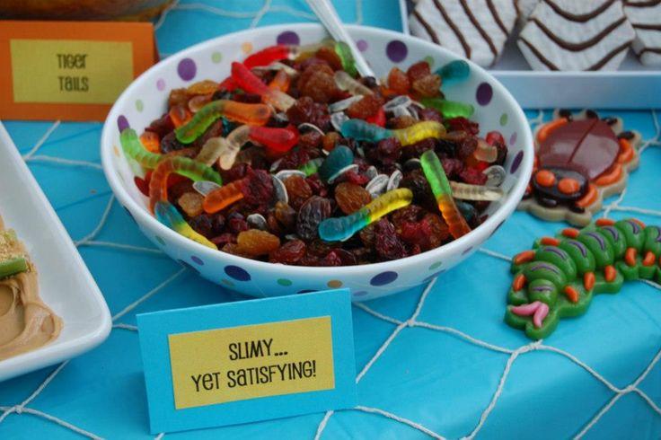 Lion King birthday food - slimy yet satisfying - bug food