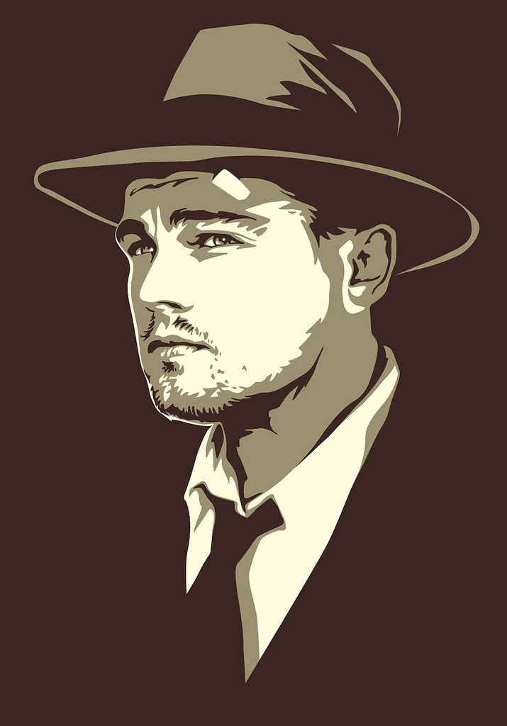 "Artwork of Leonardo DiCaprio from the movie ""Shutter Island"" done in a vintage book illustration style. I did for a confidential client.  For reference, I looked at spot illustrations from Hardy Boys books and a Boy Scout guidebook from the 1950s.  I used a publicity shot from the movie studio for reference.  I planned out the artwork in Photoshop and finalized it in Adobe Illustrator (CS4)."