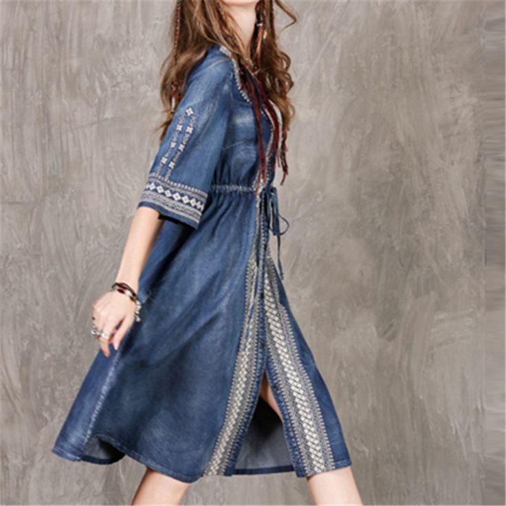 Marca túnica feminina étnico bordado denim dress com botão hlaf luva casual cintura império do vintage ampla hem dress # d5 em Vestidos de Das mulheres Roupas & Acessórios no AliExpress.com   Alibaba Group