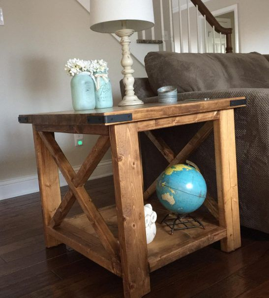 handmade wood end table