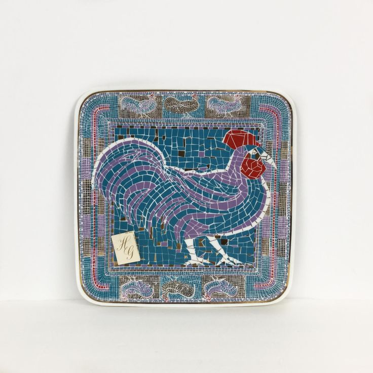 PR Unused square glass rooster plate Rooster charger Houze glass plate Geometric mosaic decorative plate Retro rooster plate & 117 best Rooster Plates images on Pinterest | Rooster plates ...