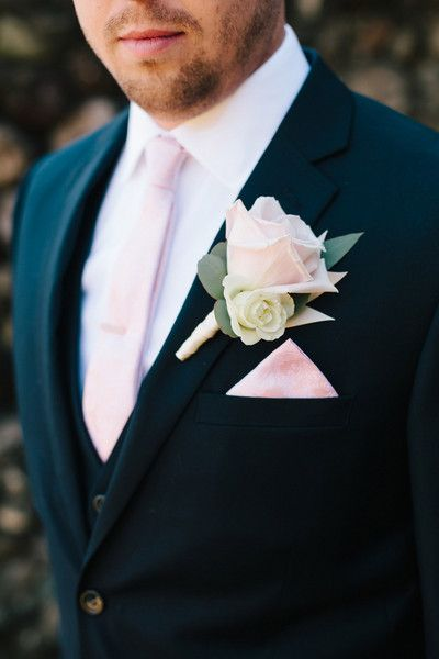 Blush pink groom accessories - blush pink necktie, rose boutonniere, and pink pocket square {Studio Phrené}