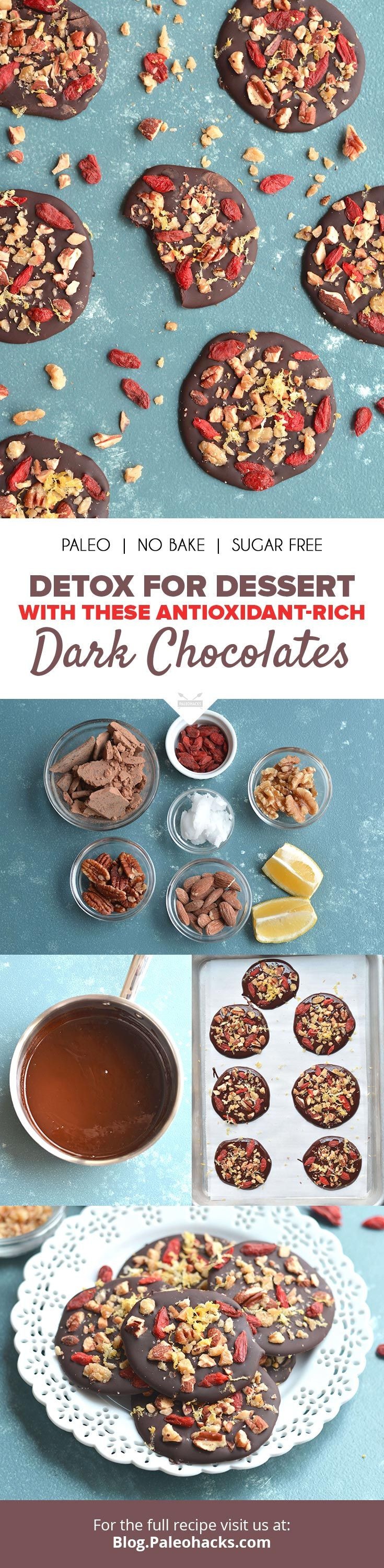 Detox for dessert with these antioxidant-rich dark chocolates! Get the full detox chocolate recipe here: http://paleo.co/antioxidantchoccies