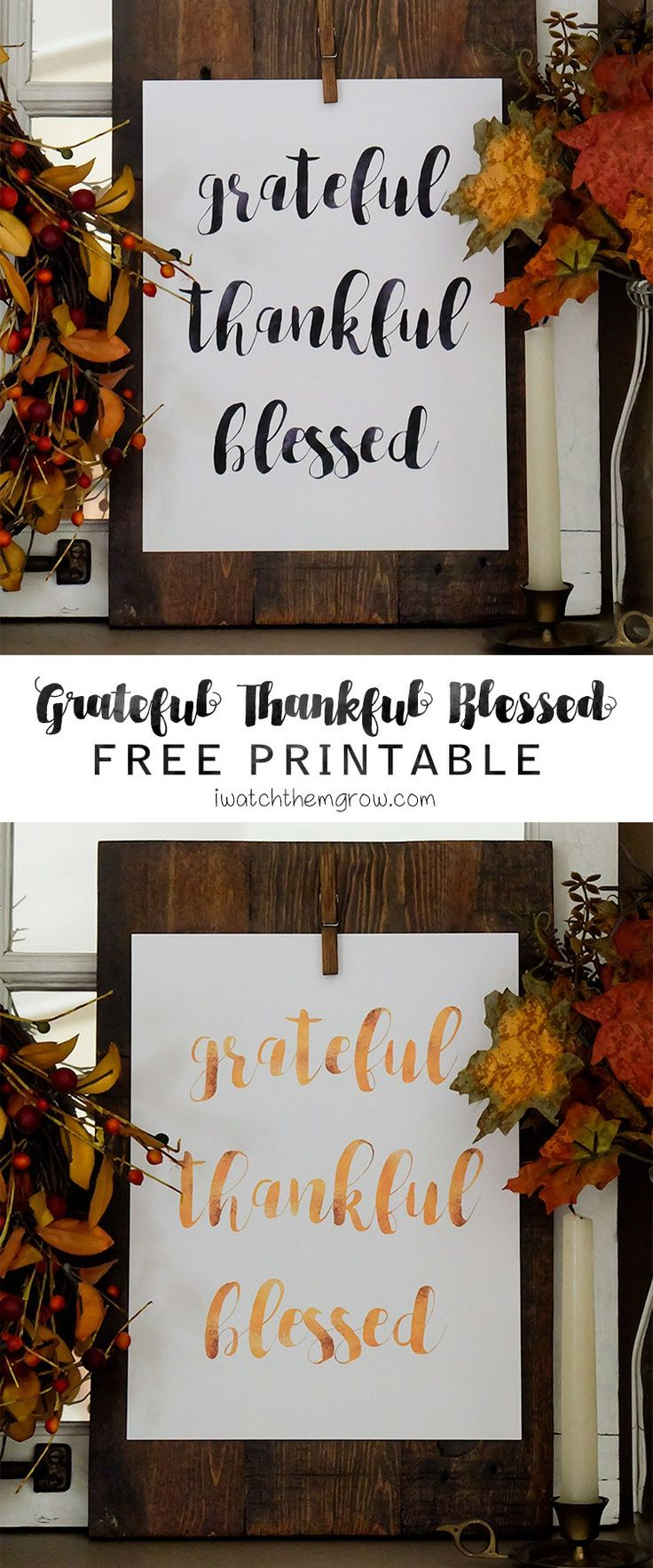 Grateful Thankful Blessed Free Printable Watercolors