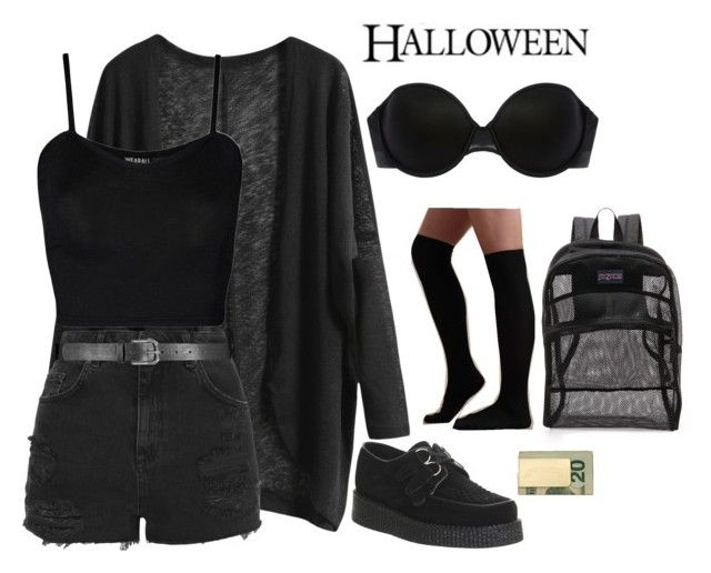 """Halloween horror nights outfit"" by lamesatann ❤ liked on Polyvore featuring Topshop, WearAll, Underground, Addiction, JanSport and In God We Trust"