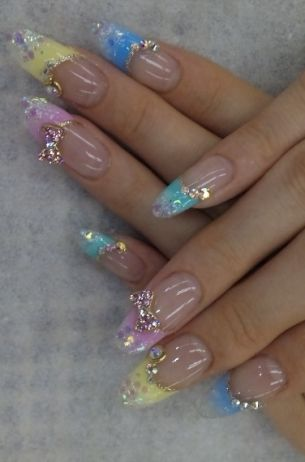 162 best nail art images on pinterest nails ballerina and cute japanese nail art with jewels prinsesfo Images