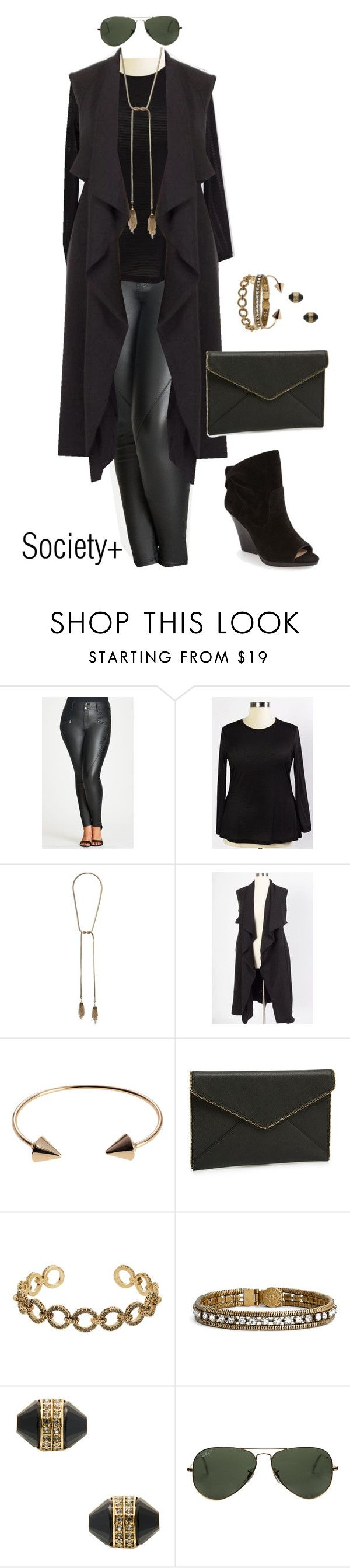 """Plus Size Black Chicest of Them All Vest - Society+"" by iamsocietyplus on Polyvore featuring Kendra Scott, Journee Collection, Rebecca Minkoff, House of Harlow 1960, Loren Hope, Ray-Ban, Vince Camuto, plussize, plussizefashion and societyplus"