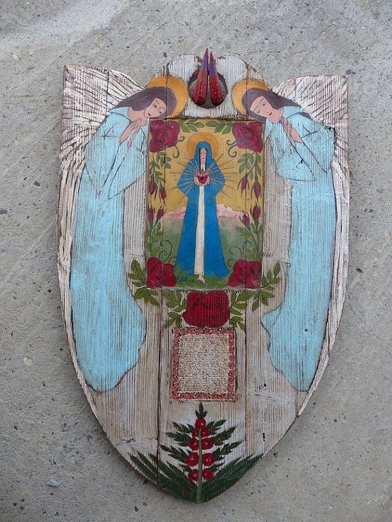 RESERVED FOR KRISTEN :) Mary Shrine / Rustic Religious Painting On Old Wood / Acrylic Painting Art