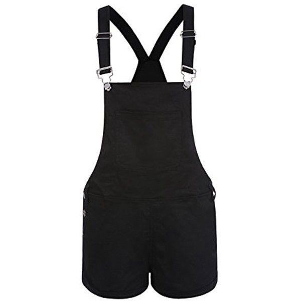 Inorin Women Overalls Black Denim Bib White Short Pink Jeans Romper... ($16) ❤ liked on Polyvore featuring jumpsuits, rompers, bib overalls, white short rompers, white jumpsuit romper, romper jumpsuit and denim rompers