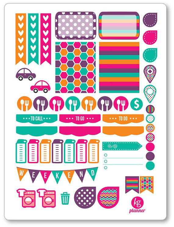 Rainbow Brights Weekly Spread Planner Stickers for by PlannerPenny