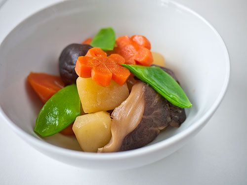 How to make nimono, a quintessentially Japanese dish of simmered vegetables and other things.