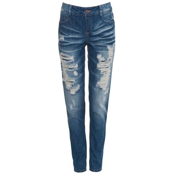 Only Blue Bermuda Boyfriend Jeans found on Polyvore