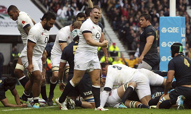 Dylan Hartley's moustache, modelled by Dylan Hartley, roars as England go over for their first try. Photograph: Steve Parsons/PA