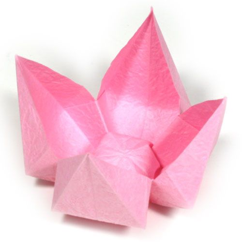 How to make a simple origami lotus flower (http://www.origami-flower.org/flower-origami-lotus-simple.php)