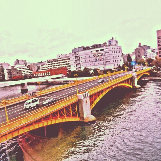 Kuramae-hashi - #yellow #bridge over Sumida #river