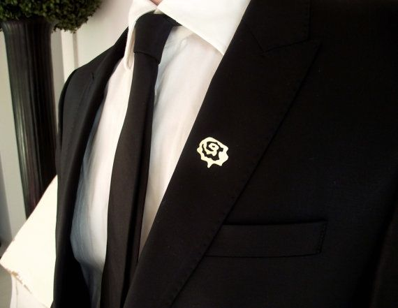 Groom's boutonniere, tie tack, groom's pin, gentleman brooch, men accessories, suit pin, minimalistic lapel pin, wedding rose boutonniere