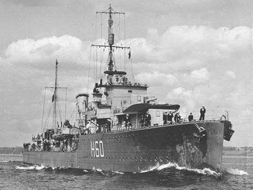 HMCS Ottawa (i) (H 60) 25 Sep 1940 - HMCS Ottawa (Cdr. E.R. Mainguy, RCN) picks up 56 survivors from the British merchant Sulairia that was torpedoed and sunk by German U-boat U-43 356 nautical miles west of Achill Head in position 53°43'N, 20°10'W. HMCS Ottawa also picks up 64 survivors from the British merchant Eurymedon that was torpedoed and sunk by German U-boat U-29 366 nautical miles west of Achill Head in position 53°34'N, 20°23'W.