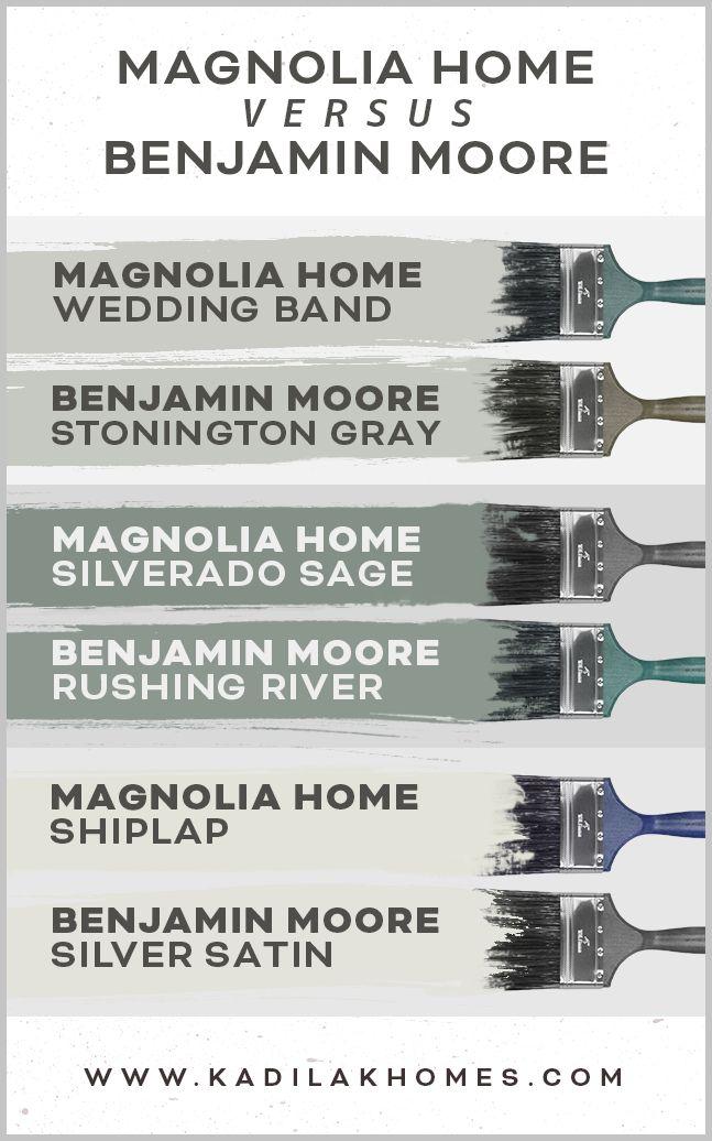 Magnolia Home Paint colors match to Benjamin Moore | Magnolia homes paint, Paint colors for home, Farmhouse paint colors