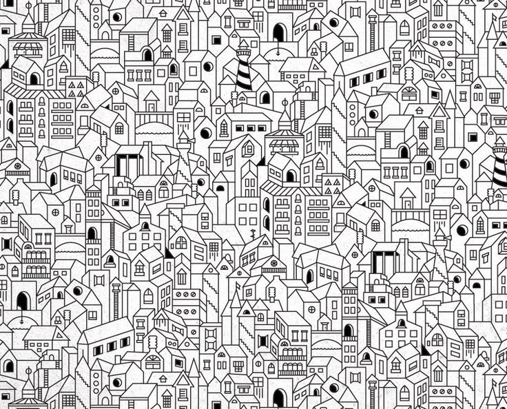 Coloriage - little houses coloring page