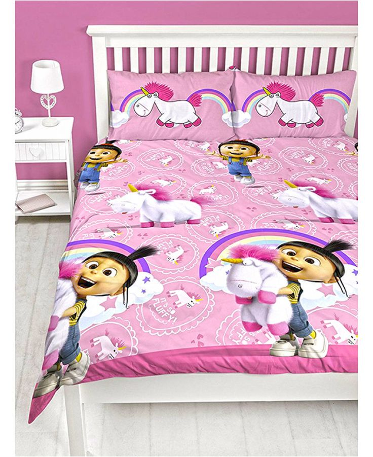 Official Despicable Me Fluffy Unicorn Double Duvet Set available with free UK delivery.