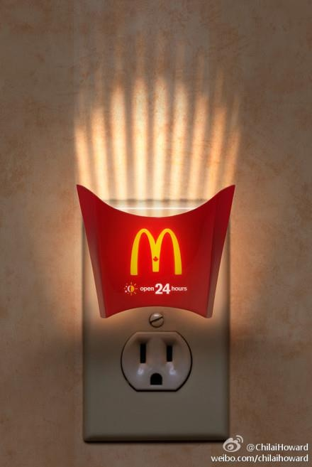 >>Fast food influences our daily lives; as can be seen by this night light... Think about Mickey D's 24/7? I don't, but other people do! :P