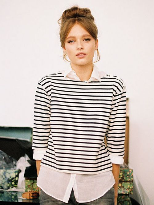 love everything. the stripes. the bun. the white collar under shirt. http://www.thenauticalcompany.com/breton-tops-shirts/cat_12.html