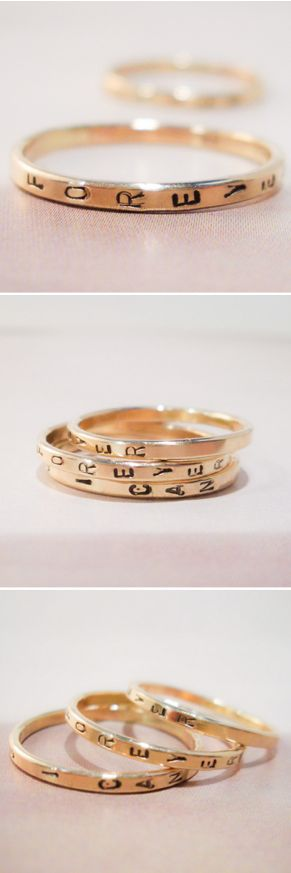 Custom stamped gold rings -- LOVE this. You can stamp a word into a ring. Win one! Just Repin & comment with your email below! http://weddings.scoutmob.com/p/Custom-Stamped-Gold-Ring-tarnished-and-true?cid=cam201502&pid=E522&referrer=smshpblg&signup=0&short_code=FKog&affl=FKog