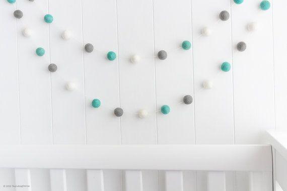 Wool Felt Ball Garland. Nursery Pom Pom by TheFeltingDorcas