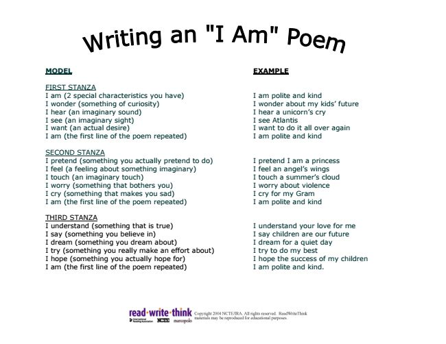 "Handout of ""I am..."" poem template and example."