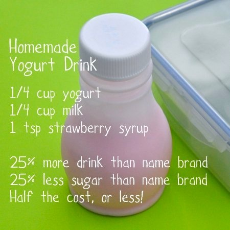 homemade yogurt drink!! Instead of syrup, puree a few frozen strawberries and