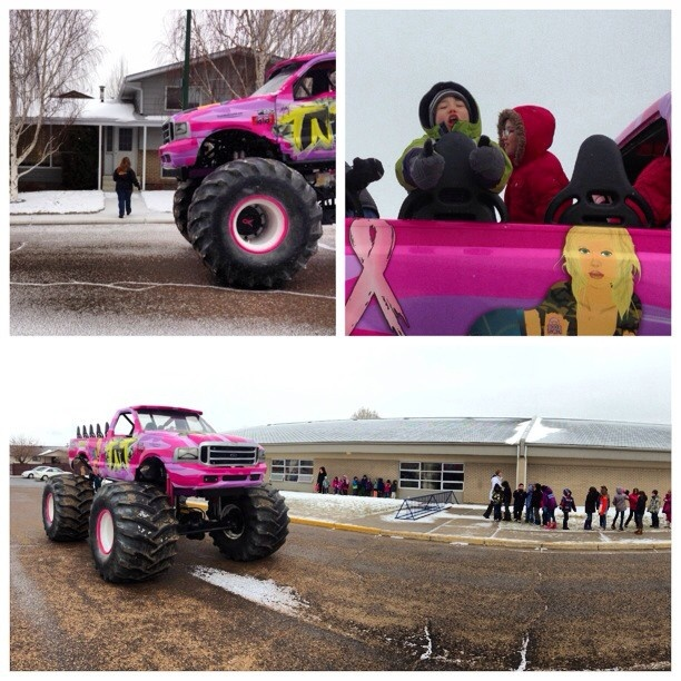 Stay In Medicine Hat got to make a few kids' day today by surprising them with a ride to school in a monster truck with Kathy from Sheer Insanity Monster Truck Racing Team.  Thanks to Jeremy (@teliotace), now crowned the coolest dad in 'The Hat', for entering and winning the #monstercarpool contest.