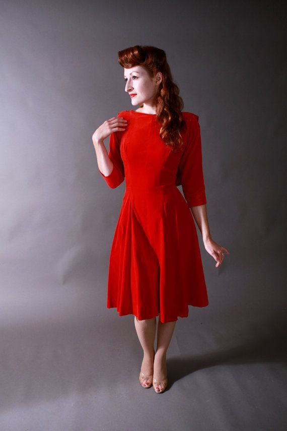 Vintage 1950s Dress Red Velvet Party Dress With Back By Fabgabs 198 00 Wedding Ideas