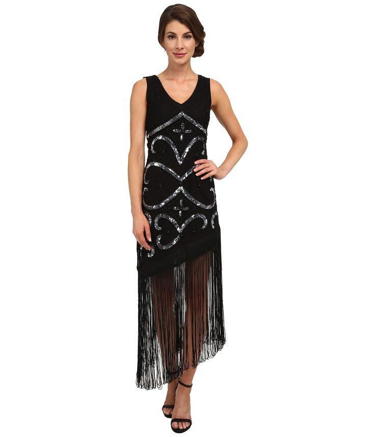 Unique Vintage - Tennessee Assymetrical Fringe Dress Black Womens Dress $268.00 AT vintagedancer.com