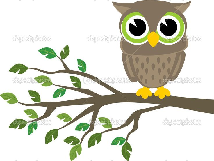 cute owl pictures cartoon | Cute baby owl cartoon - Stock Illustration