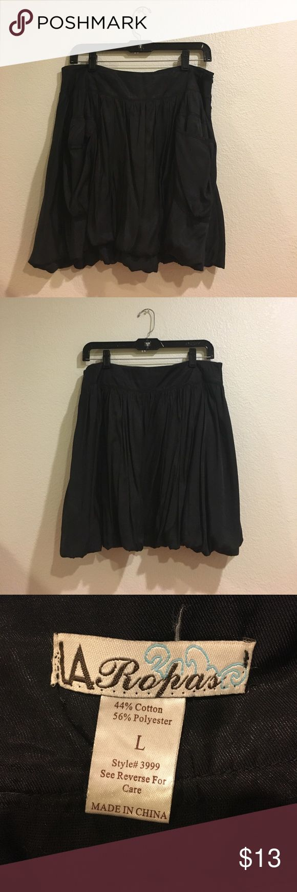 Vintage Black Circle Skirt Black Circle Skirt with 2 Pockets and a Zipper on the Side LA Ropas Skirts Circle & Skater